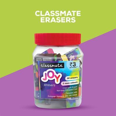 Classmate Joy Neon Erasers Jar (Pack of 1)
