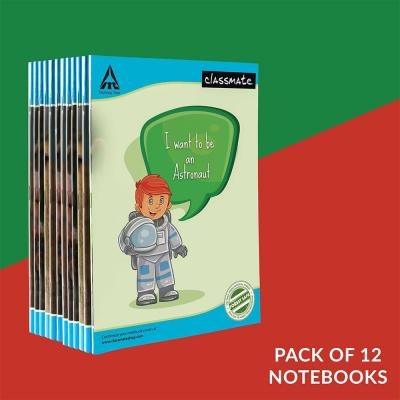 Classmate Notebook, 24.0 cm x 18.0 cm, 172 pages, Pack of 12